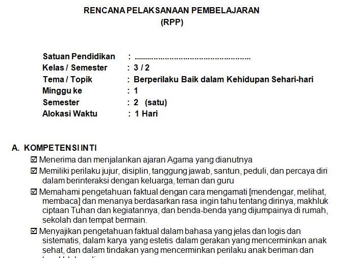 Download RPP Kelas 3 SD Kurikulum 2013 Edisi Revisi 2018 Tema 8