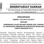 Rincian Formasi Seleksi CPNS Tahun 2019 Kabupaten Magelang