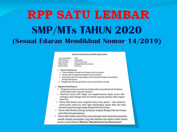 Contoh Rpp Satu Lembar Pjok Smp Mts Tahun 2020