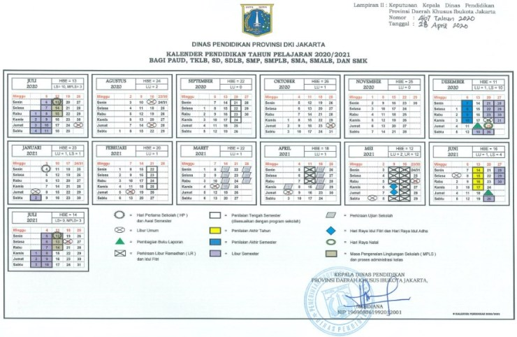 Keputusan Nomor 467 Tahun 2020 tentang Kalender Pendidikan Tahun Pelajaran 2020/2021.