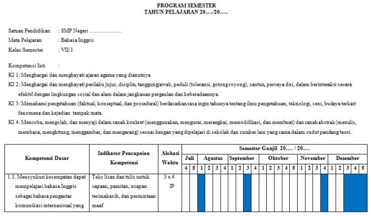 Prota Dan Promes Kelas 7 Smp Revisi Terbaru Kurikulum 2013