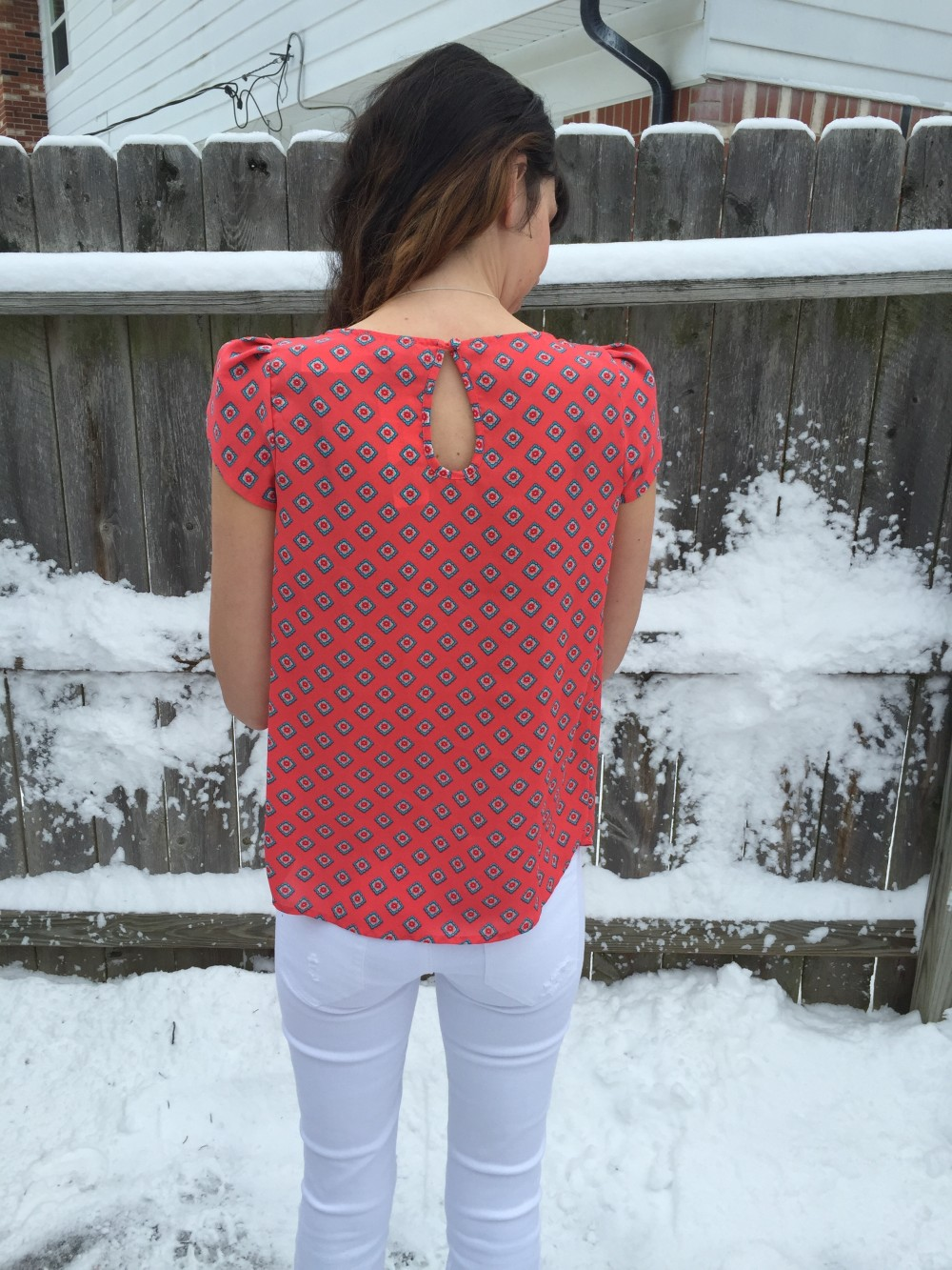 Bastille Tulip Sleeve Blouse in Coral by Papermoon March Stitch Fix 2016 // a monkey and his mama
