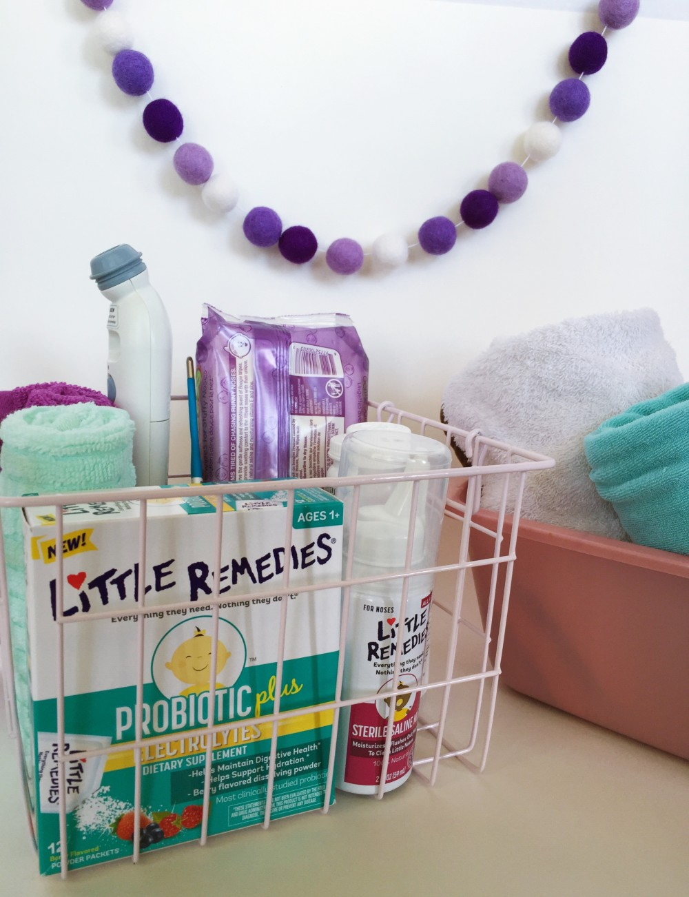 our sick tiny human basket, withLittle Remedies® Probiotic Plus Electrolytes // a monkey and his mama