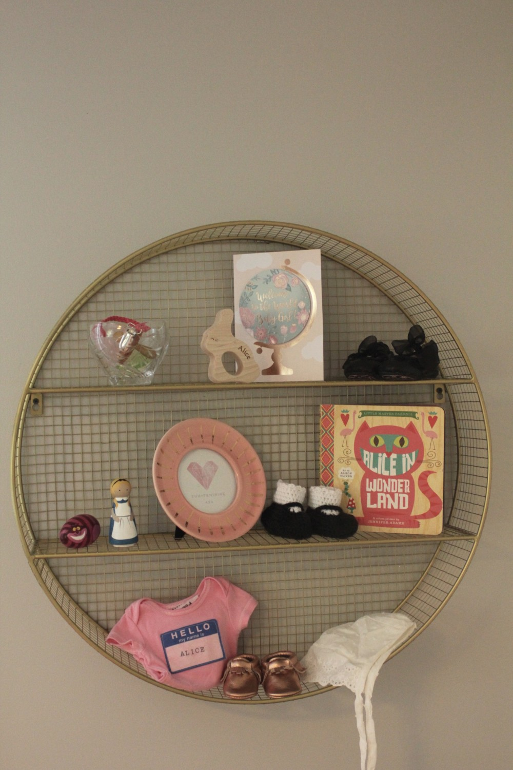 gold wall shelf nursery