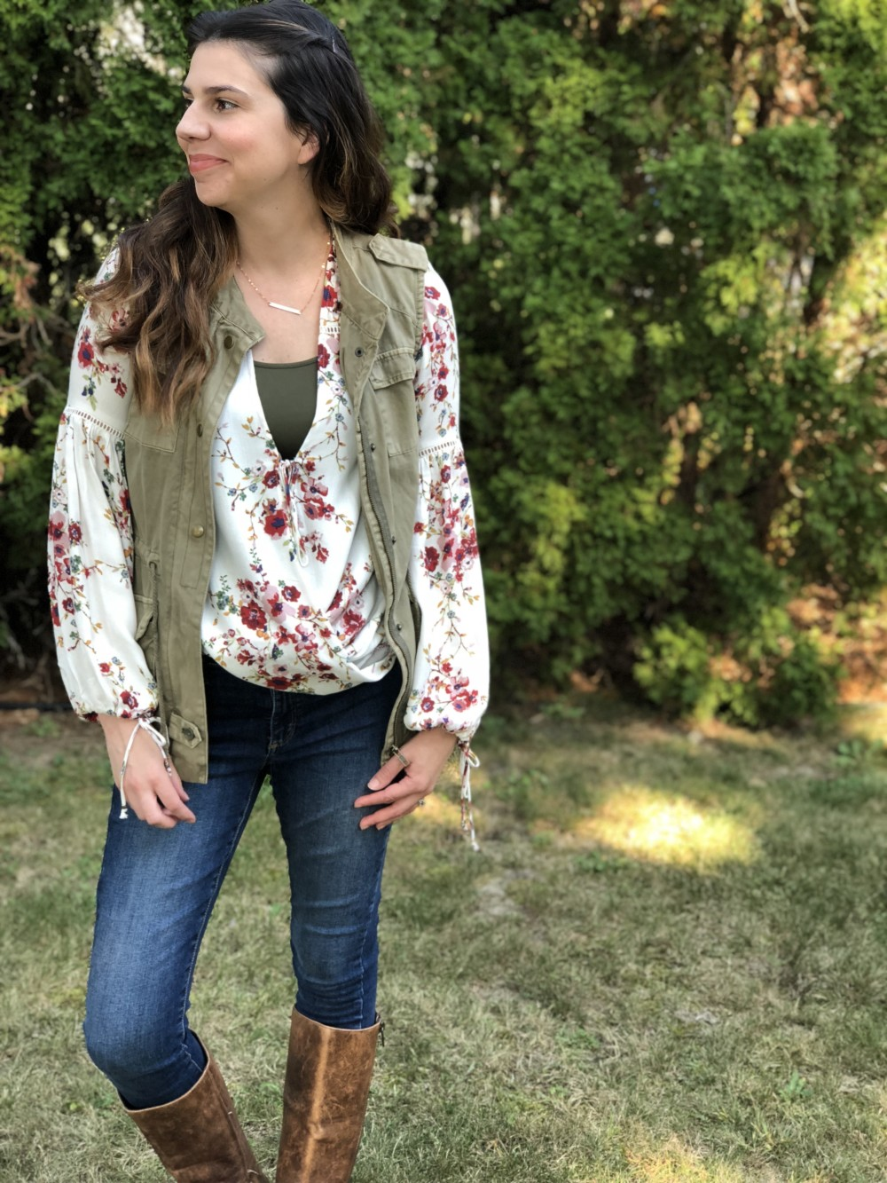 evereve floral blouse and military vest