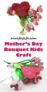 tulip bouquet flower - mother's day craft -  kid crafts - amorecraftylife.com #preschool #craftsforkids #crafts #kidscraft