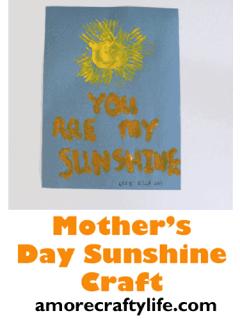 mothers day craft kid crafts -you are my sunshine - amorecraftylife.com #kidscraft #craftsforkids #preschool