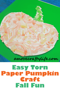torn paper pumpkin kid craft- fall kid craft - craft for kids #preschool  #craftsforkids #kidscrafts