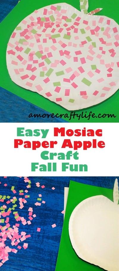 mosaic apple kid craft- amorecraftylife.com - fall kid craft - craft for kids