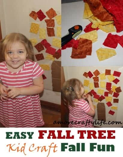 easy fall tree kid craft - fall kid craft -amorecraftylife.com #kidscraft #craftsforkids #preschool