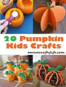 pumpkin kid crafts- fall kid craft- crafts for kids - amorecraftylife.com #preschool #crafts #kidscraft #craftsforkids