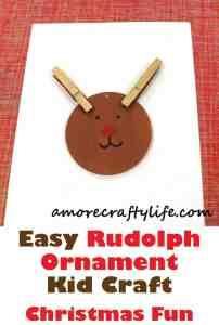 Rudolph Ornament - Christmas kid craft - rudolph craft - - amorecraftylife.com #kidscraft #craftsforkids #preschool #crafts #christmas #tutorial
