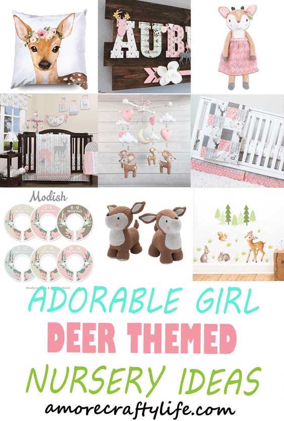 girl deer nursery - girl Woodland nursery idea - girl nursery theme - animal nursery - amorecraftylife.com #baby #nursery #babygift #woodland