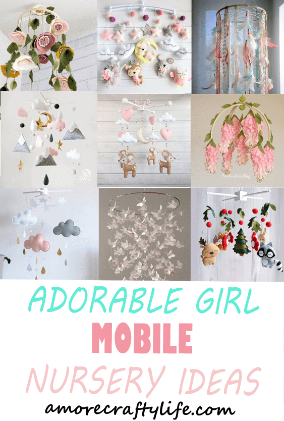 girl mobile nursery ideas- girl nursery theme - flowers nursery - amorecraftylife.com #baby #nursery #babygift #babygirl