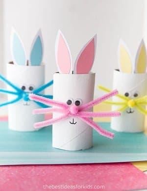 bunny kid crafts for preschoolers - easter kid crafts - arts and crafts activities -spring kid craft- amorecraftylife.com #kidscraft #craftsforkids #easter #preschool
