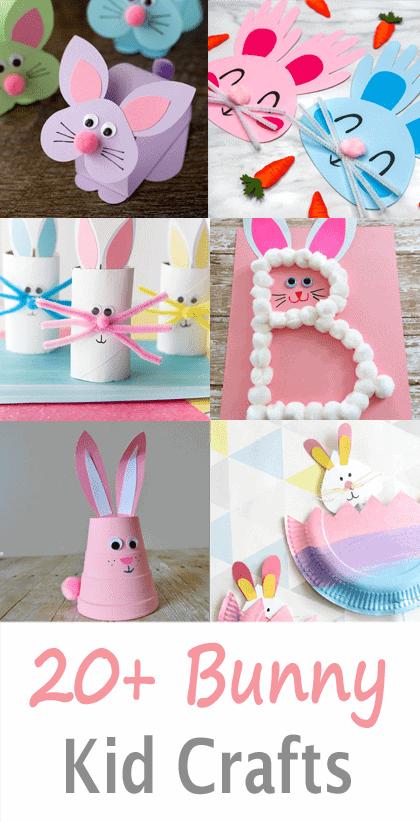 bunny kid crafts - easter kid crafts - arts and crafts activities -spring kid craft- amorecraftylife.com #kidscraft #craftsforkids #easter #preschool