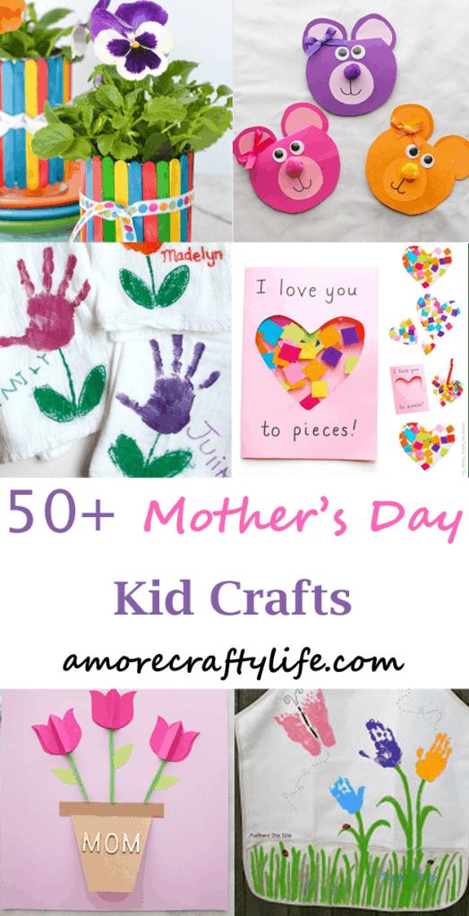mothers day kid crafts -amorecraftylife.com #kidscraft #craftsforkids #preschool