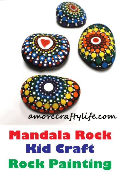 Mandala Rock Kid Crafts - dot rock painting - insect kid craft amorecraftylife.com #kidscrafts #craftsforkids #diy