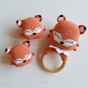 Knitted rattle Pup fox | 300x300