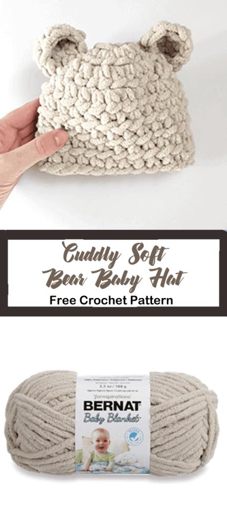 bear baby hat crochet pattern - baby crochet pattern - free crochet pattern - amorecraftylife.com #crochet #crochetpattern #freecrochetpattern #baby