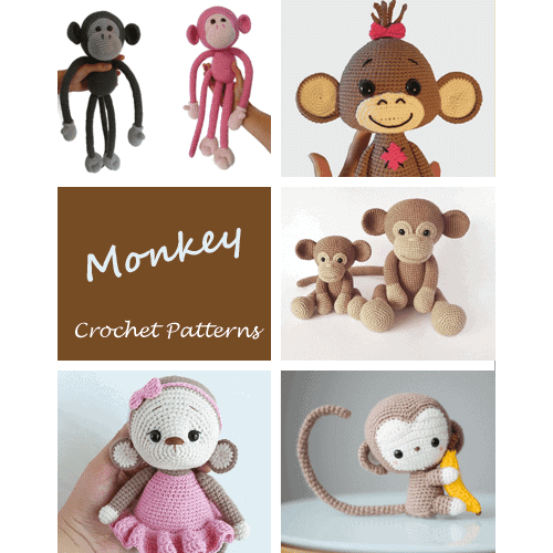 Large Baby Monkey Amigurumi Pattern with Bonus Santa Hat Pattern ... | 500x500