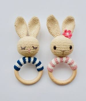 bunny baby rattle Crochet Patterns - Cute Gifts - A More Crafty Life - baby blanket #crochet #crochetpattern #baby