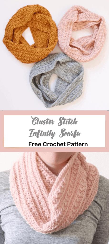 cluster stitch scarf crochet pattern- - amorecraftylife.com #crochet #crochetpattern #freecrochetpattern