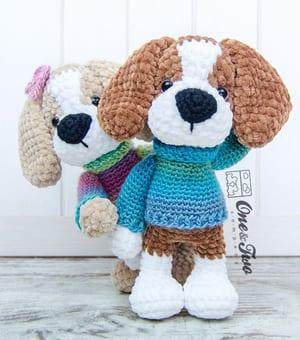 Amigurumi dog keychain/bag charm: pattern | Amiguroom Toys | 340x300