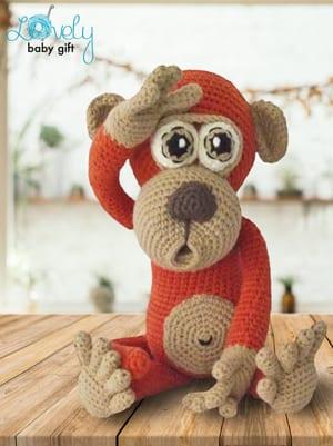 084 Crochet Pattern - Baby monkey - Amigurumi PDF file by Pertseva CP | 401x300