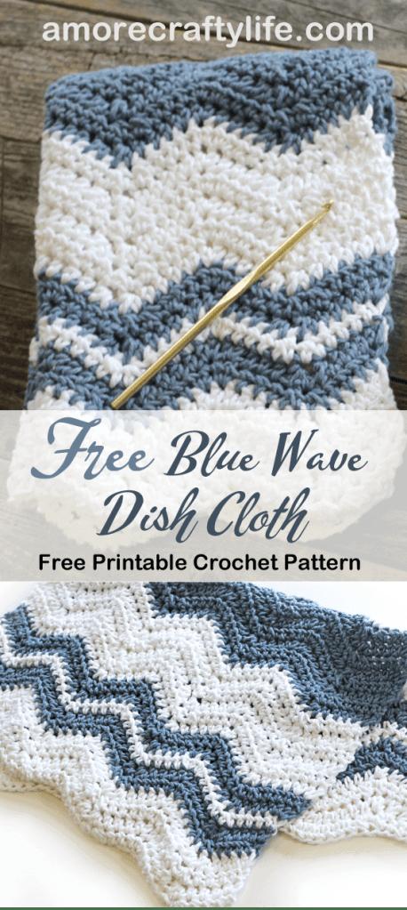 free blue wave crochet dishtowel crochet pattern -amorecraftylife.com #crochet #crochetpattern #diy #freecrochetpattern