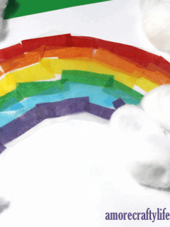 tissue paper rainbow suncatcher crafts - crafts for kids- kid crafts - amorecraftylife.com #preschool #kidscraft #craftsforkids