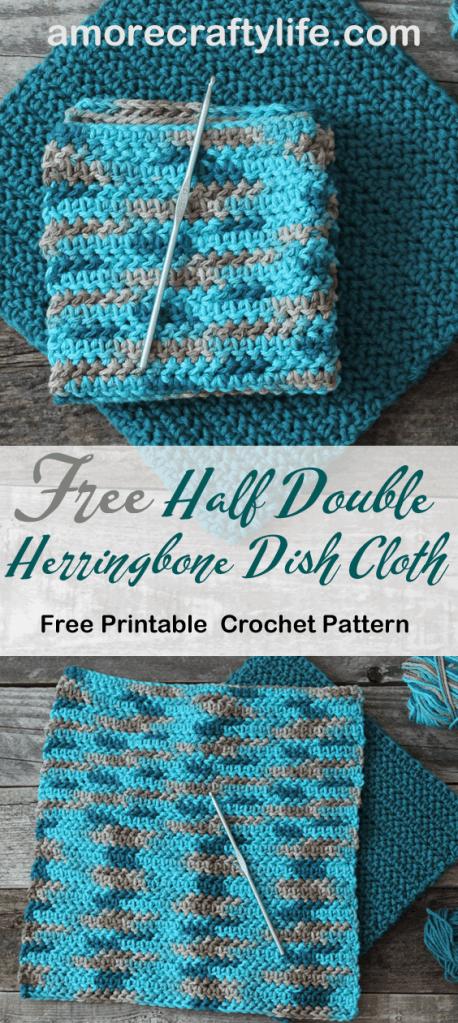free printable herringbone half double crochet dishcloth pattern -amorecraftylife.com #crochet #crochetpattern #diy #freecrochetpattern