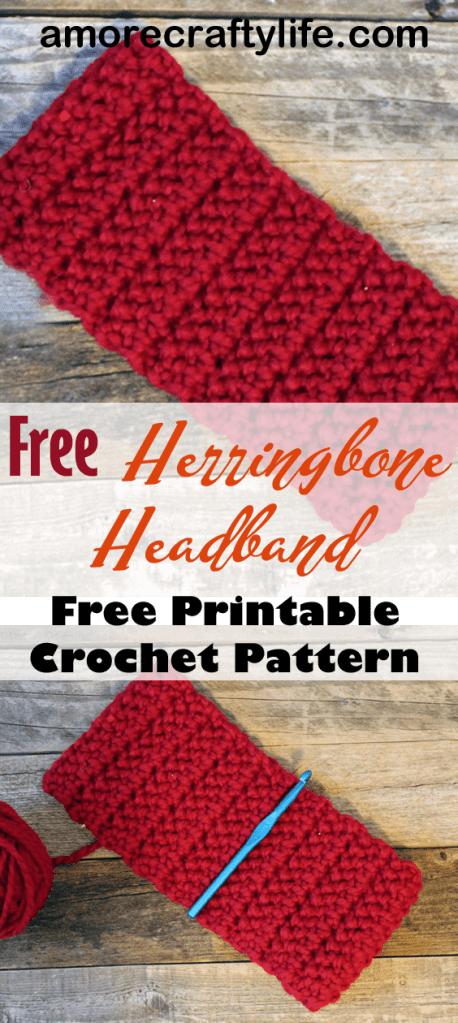 Make a bulky headband pattern. Chunky Herringbone Crochet Headband Pattern -crochet ear warmer pattern- printable pdf - winter headband - amorecraftylife.com #crochet #crochetpattern #freecrochetpattern