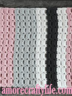 gray pink stripe crochet baby blanket pattern - amorecraftylife.com -feels like butta yarn - baby afghan - free printable crochet pattern #baby #crochet #crochetpattern #freecrochetpattern