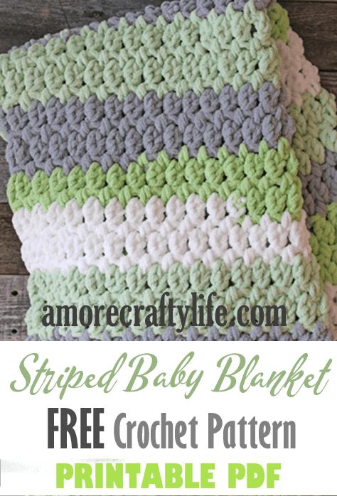 gray green easy striped crochet baby blanket pattern - amorecraftylife.com -bernat blanket yarn - baby afghan - free printable crochet pattern - bernat blanket yarn #baby #crochet #crochetpattern #freecrochetpattern