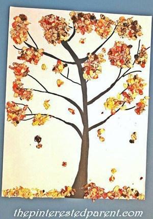 fall tree kid crafts- fall kid craft - autumn kid craft - amorecraftylife.com #kidscrafts #craftsforkids #preschool #fall