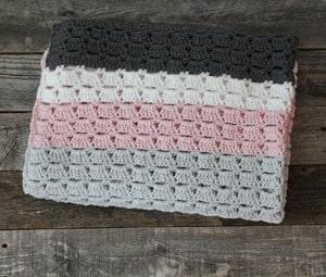 Gray and Pink Stripe Baby Blanket Crochet Pattern