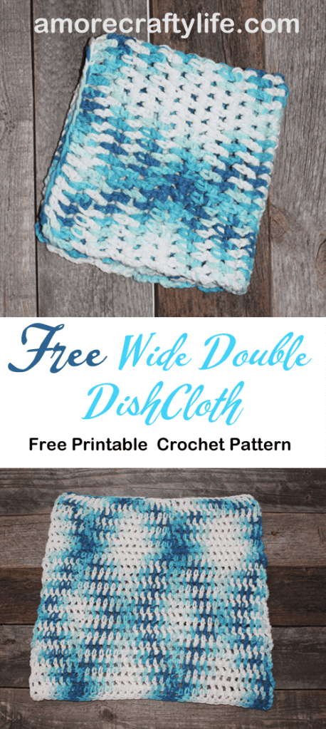free printable wide double crochet dishcloth pattern -amorecraftylife.com #crochet #crochetpattern #diy #freecrochetpattern