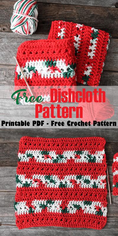 free printable crossed double stitch crochet dishcloth pattern -amorecraftylife.com #crochet #crochetpattern #diy #freecrochetpattern