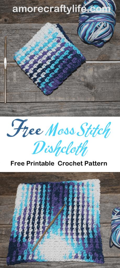 free printable crochet moss stitch dishcloth pattern -amorecraftylife.com #crochet #crochetpattern #diy #freecrochetpattern