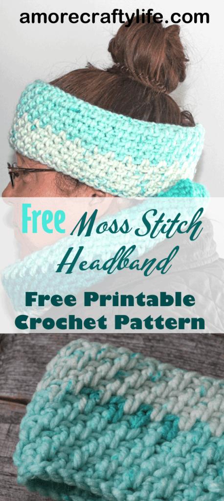 Moss stitch crochet Headband pattern - Free Pattern -crochet ear warmer pattern- printable pdf - winter headband - amorecraftylife.com #crochet #crochetpattern - matching cowl #freecrochetpattern