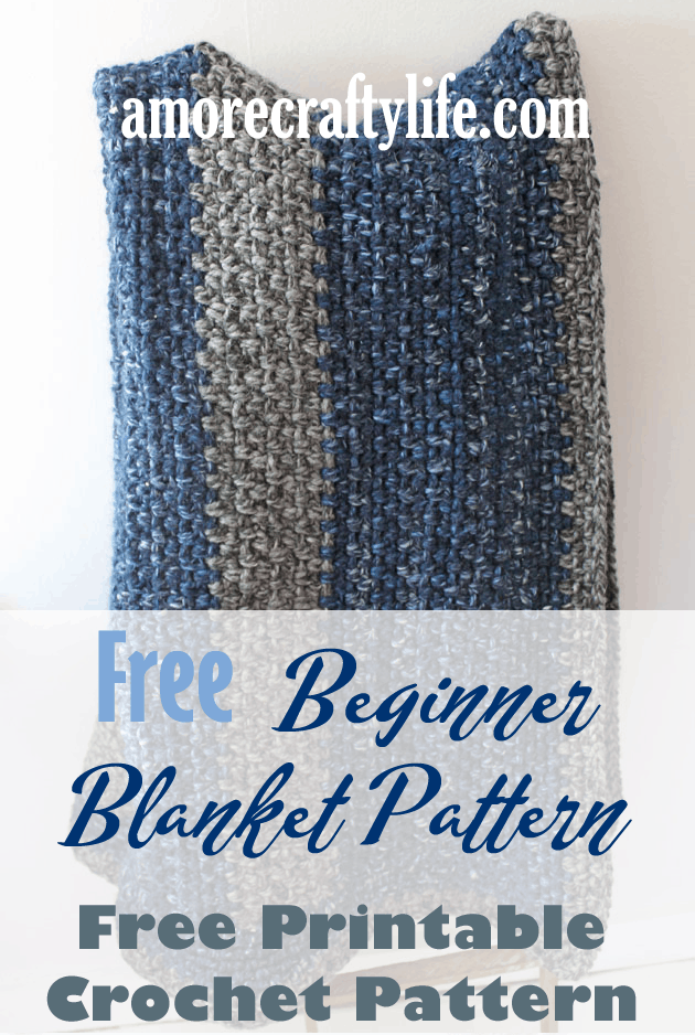 Striped large wool crochet blanket free pattern for beginners -amorecraftylife.com Super bulky yarn-crocheted afghan - free printable crochet pattern - lion brand wool-ease thick and quick yarn #crochet #crochetpattern #freecrochetpattern