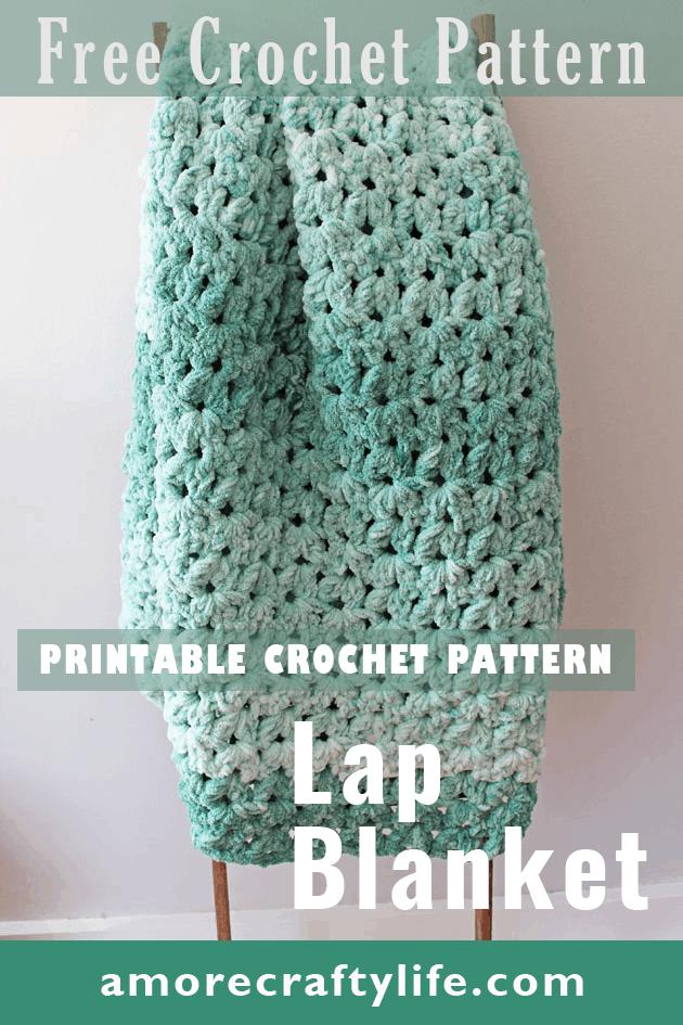 Make this quick and easy mist green chunky crochet blanket free pattern.  super bulky chenille yarn - amorecraftylife.com -bernat blanket yarn -lap afghan - free printable crochet pattern - bernat blanket yarn #crochet #crochetpattern #freecrochetpattern