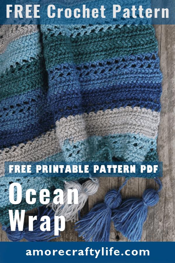 Make this easy ocean wrap free pattern. amorecraftylife.com - free printable crochet pattern #crochet #crochetpattern #freecrochetpattern