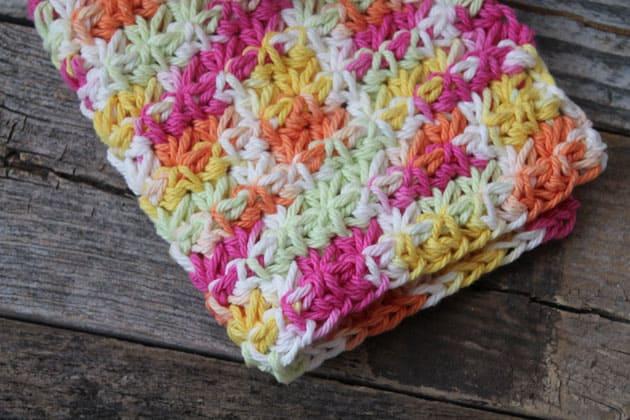 easy over the rainbow trinity stitch crochet dishcloth pattern - free printable pdf - amorecraftylife.com #crochet #crochetpattern #freecrochetpattern