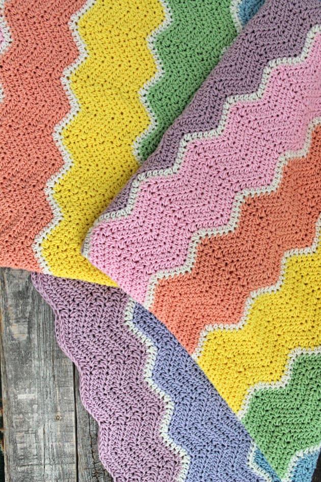 rainbow sherbet baby blanket free crochet pattern - free printable crochet pattern - amorecrafty.com #crochet #crochetpattern #freecrochetpattern