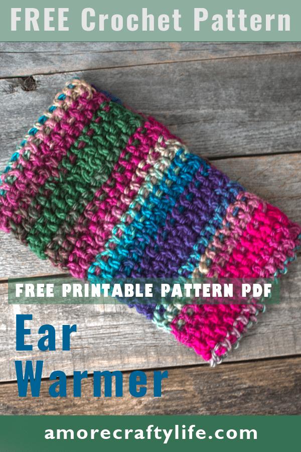 Faça um padrão de bandana de inverno.  Aquecedor de orelhas de vitral Padrão de crochê em formato de crochê PDF grátis - pdf para impressão - bandana de inverno - amorecraftylife.com Fio Inesquecível Coração Vermelho #crochet #crochetpattern #freecrochetpattern
