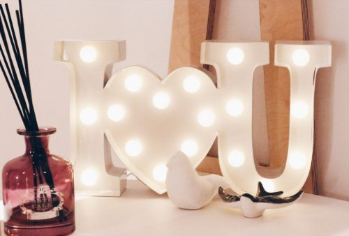 new workspace inspiration DIY i love you lights