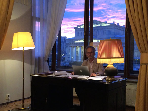 The author in Suite 217 with the Bolshoi in the background
