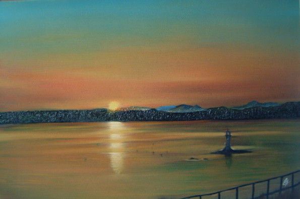 Sunset from Malaig - Oils - SOLD